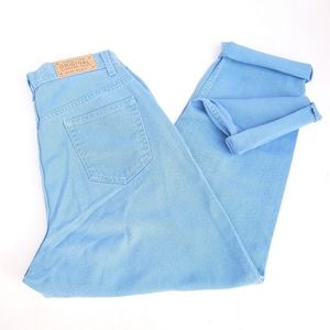 VINTAGE baby blue high rise structured mom jeans